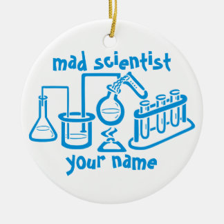 Mad Scientist Round Ceramic Ornament