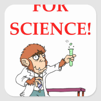 mad scientist square sticker