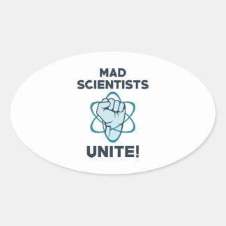 Mad Scientists Unite Oval Sticker