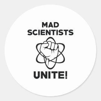 Mad Scientists Unite Round Sticker