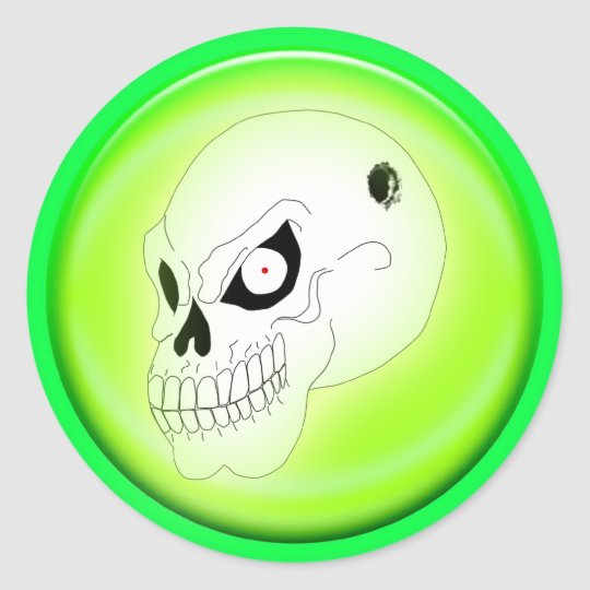 Mad Skull On Green Sticker