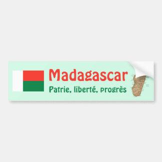 Madagascar Flag + Map Bumper Sticker
