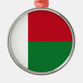 Madagascar flag Silver-Colored round ornament