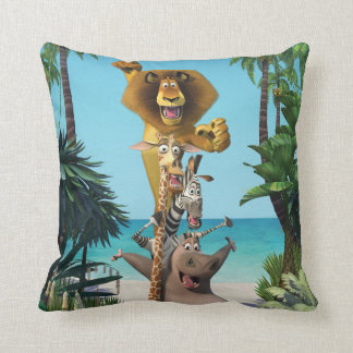 Madagascar Friends Support Throw Pillow