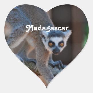 Madagascar Lemur Heart Sticker