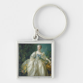 Madame Bergeret, c. 1766 (oil on canvas) Silver-Colored Square Keychain