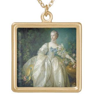 Madame Bergeret, c. 1766 (oil on canvas) Square Pendant Necklace