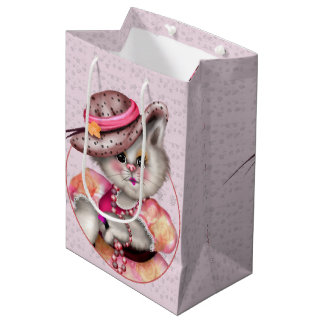 MADAME CAT CARTOON Gift Bag -  MEDIUM GLOSSY