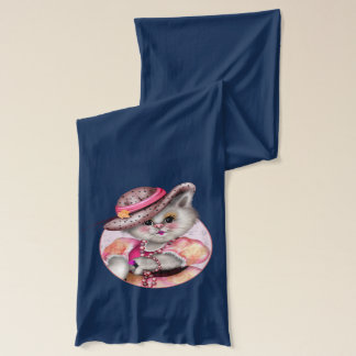 MADAME CAT CARTOON Jersey Scarf Heather NAVY
