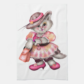 MADAME CAT CARTOON  Linen with crockery Hand Towels