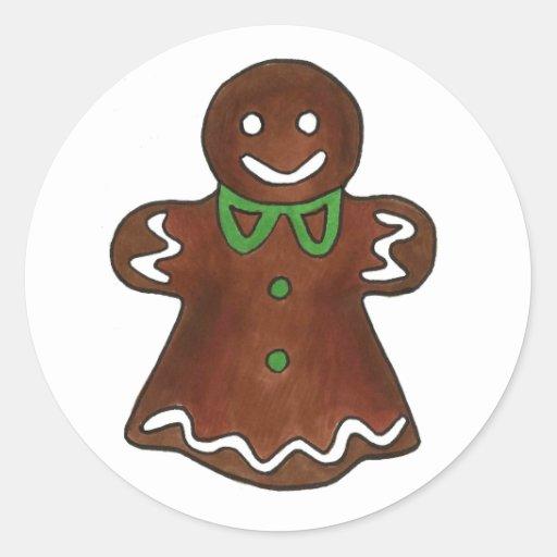 Madame Cookie de pain d'épice Adhésifs Ronds