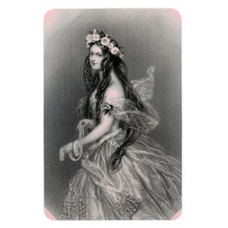 Madame de la meilleure qualité Pearls Portrait Vin Magnet Rectangulaire