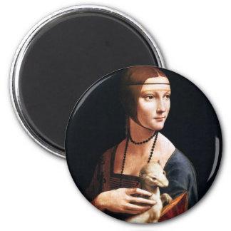 Madame de Leonardo da Vinci avec un aimant de herm