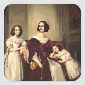 Madame de Nonjon and her Two Daughters, 1839 Square Stickers