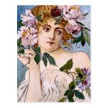 Madame de Nouveau d'art avec des fleurs Cartes Postales