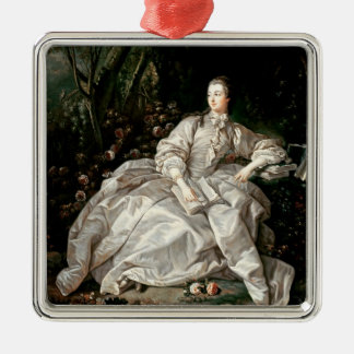Madame de Pompadour Silver-Colored Square Ornament