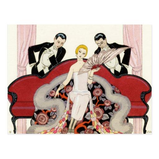 Madame élégante en carte postale d'art déco de Par