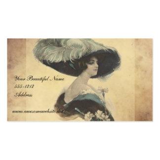 Madame élégante vintage dans des cartes de visite  carte de visite standard