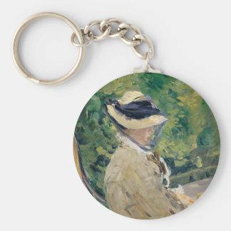 Madame Manet (Suzanne Leenhoff, 1830–1906) Basic Round Button Keychain