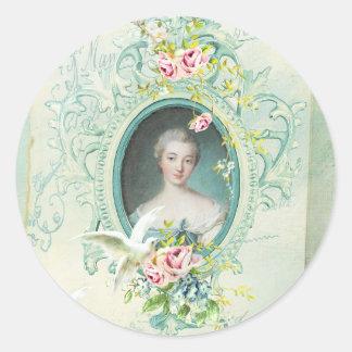 Madame Pompadour Passionannte Singing Bird Classic Round Sticker