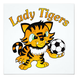 Madame Tigers Soccer Carton D'invitation 13,33 Cm