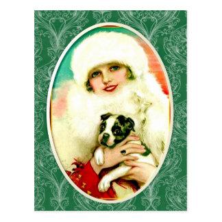 Madame vintage avec Boston Terrier Carte Postale