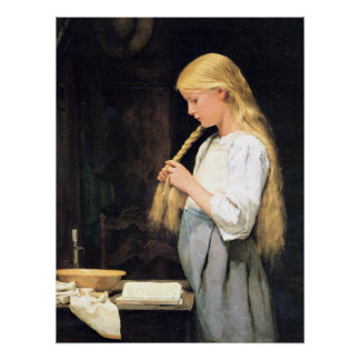 Mädchen die Haare flechtend Girl Braiding her Hair Poster