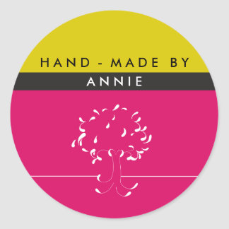 Made By {your name} Sticker in Fuscia and Mustard