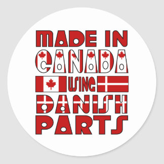 Made Canada Danish Parts Round Stickers