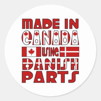 Made Canada Danish Parts Round Stickers