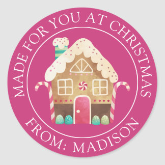 Made For You at Christmas | Gingerbread House Classic Round Sticker