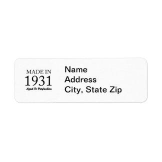 Made In 1931 Return Address Label