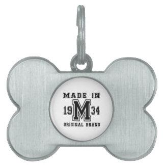 MADE IN 1934 ORIGINAL BRAND BIRTHDAY DESIGNS PET NAME TAG