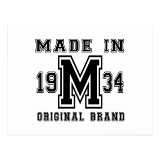 MADE IN 1934 ORIGINAL BRAND BIRTHDAY DESIGNS POSTCARD