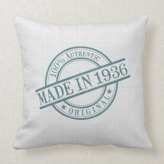 Made in 1936 Circular Rubber Stamp Style Logo Throw Pillow