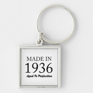 Made In 1936 Silver-Colored Square Keychain