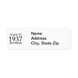 Made In 1937 Return Address Label