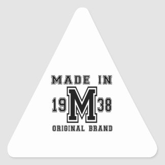 MADE IN 1938 ORIGINAL BRAND BIRTHDAY DESIGNS TRIANGLE STICKER