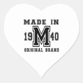 MADE IN 1940 ORIGINAL BRAND BIRTHDAY DESIGNS HEART STICKER