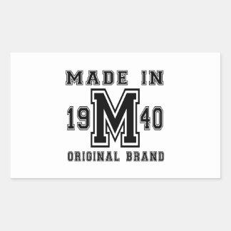 MADE IN 1940 ORIGINAL BRAND BIRTHDAY DESIGNS STICKER