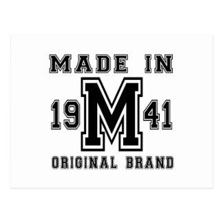 MADE IN 1941 ORIGINAL BRAND BIRTHDAY DESIGNS POSTCARD