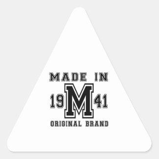MADE IN 1941 ORIGINAL BRAND BIRTHDAY DESIGNS TRIANGLE STICKER