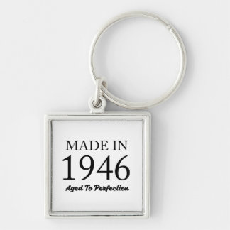 Made In 1946 Silver-Colored Square Keychain