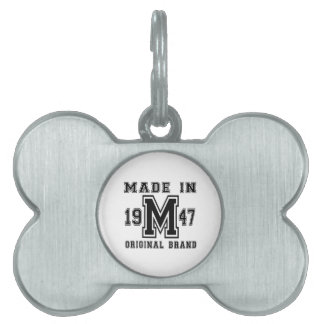 MADE IN 1947 ORIGINAL BRAND BIRTHDAY DESIGNS PET NAME TAG