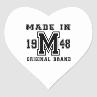 MADE IN 1948 ORIGINAL BRAND BIRTHDAY DESIGNS HEART STICKER