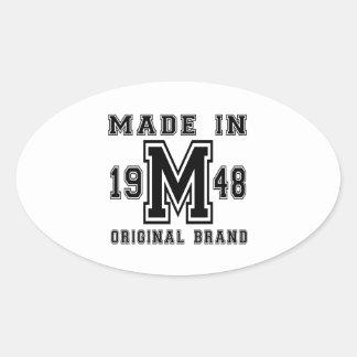 MADE IN 1948 ORIGINAL BRAND BIRTHDAY DESIGNS OVAL STICKER