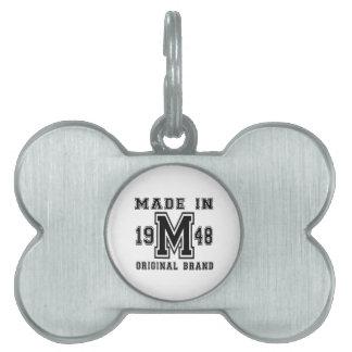 MADE IN 1948 ORIGINAL BRAND BIRTHDAY DESIGNS PET ID TAG