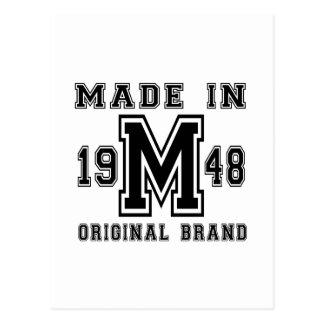 MADE IN 1948 ORIGINAL BRAND BIRTHDAY DESIGNS POSTCARD