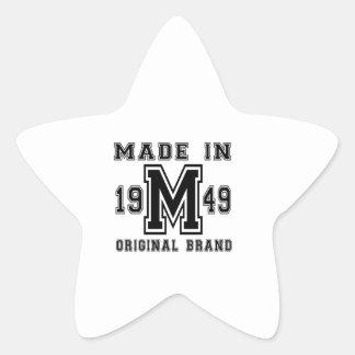 MADE IN 1949 ORIGINAL BRAND BIRTHDAY DESIGNS STAR STICKER