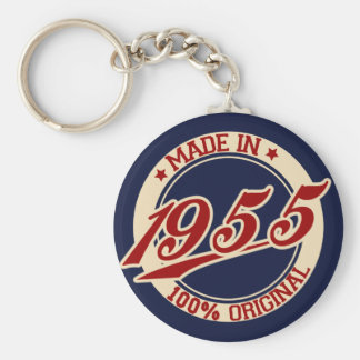 Made In 1955 Basic Round Button Keychain